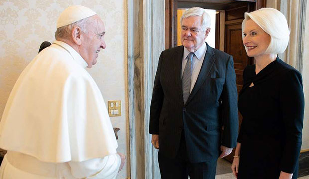 Pope Francis with Callista and Newt Gingrich